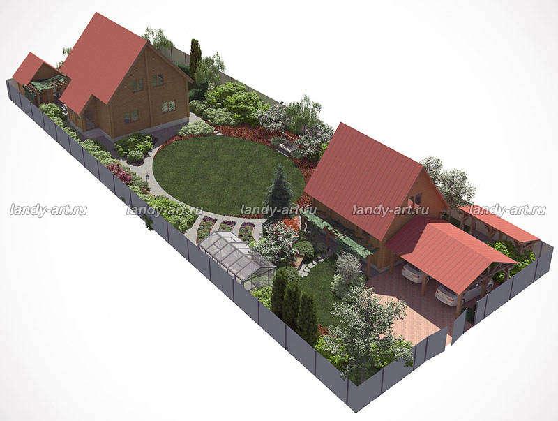 Дизайн участка вытянутой прямоугольной формы